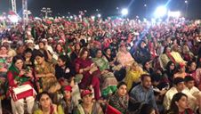 PTI chairman Imran Khan delivering his speech in Karachi.